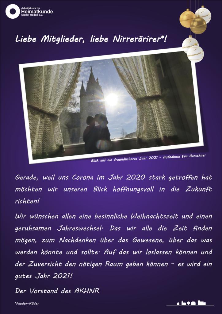 Aushang - Grußbotschaft des Vorstandes um Jahreswechsel 2020/21 ©AKHNR